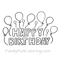 Happy Birthday Coloring Pages Outlines Flowers Balloons