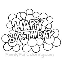 happy birthday coloring pages outlines flowers