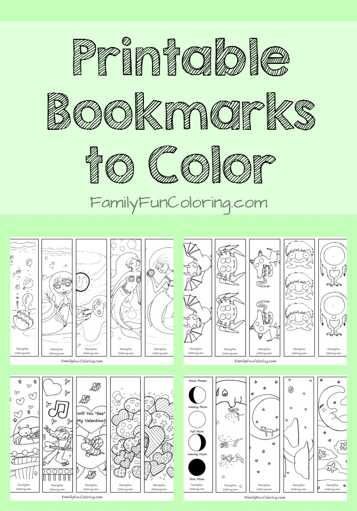 Printable Bookmarks to Color