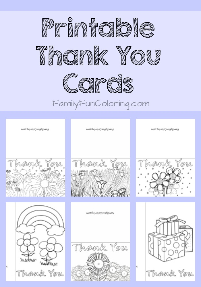Printable Thank You Cards to Color